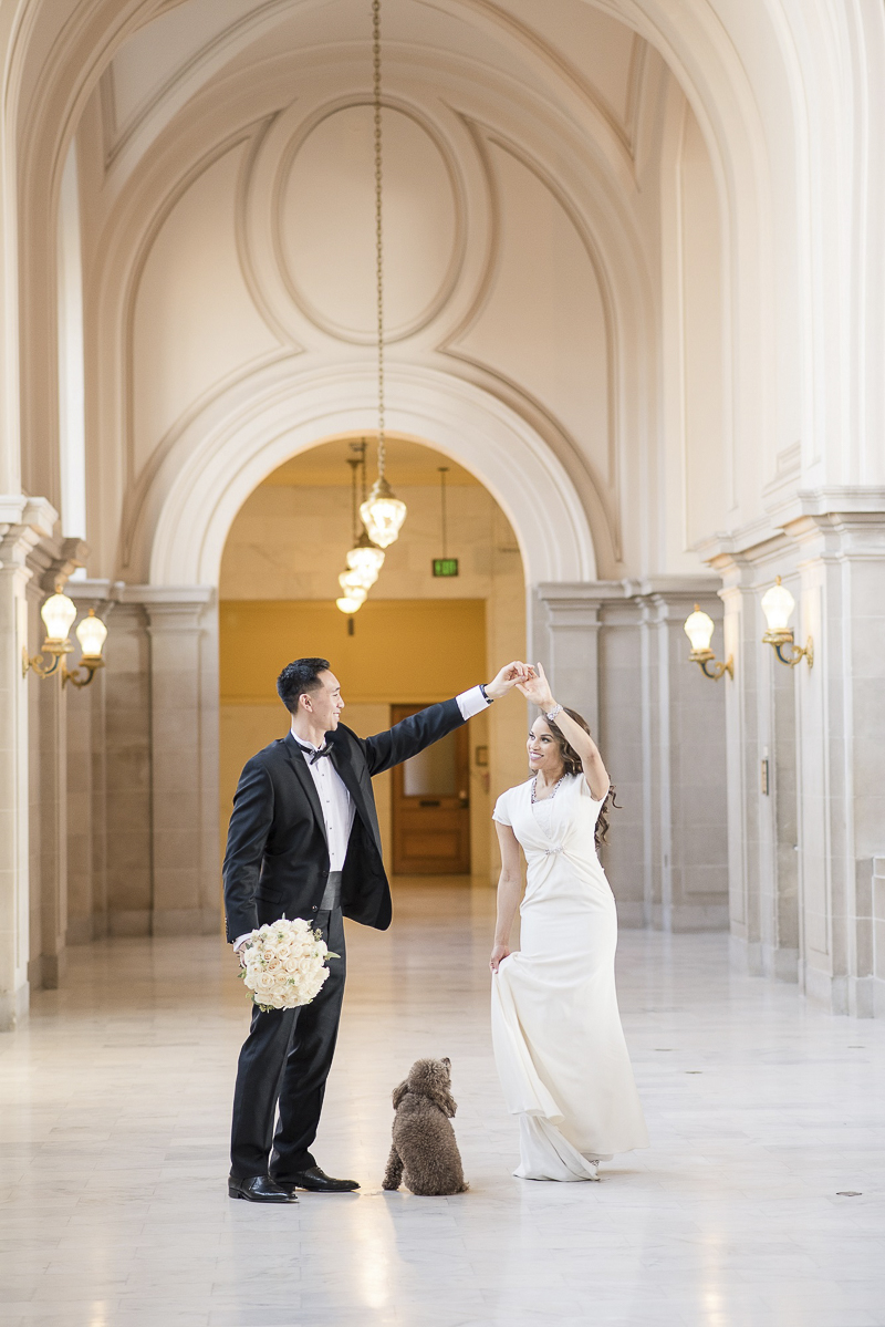 couple dancing in SF city hall while dog watches, wedding pictures with dog, ©Holly D Photography SF City Hall