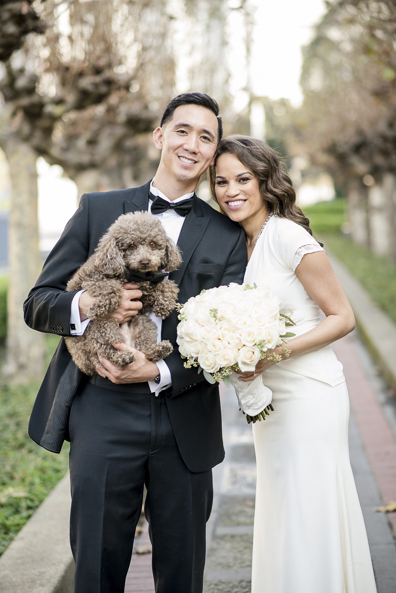 just married couple and their dog, ©Holly D Photography | wedding dog