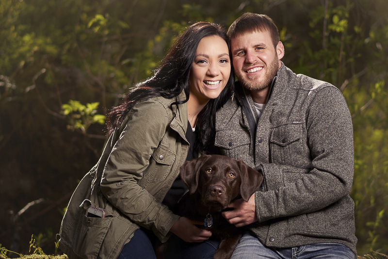 couple and their chocolate lab pup, ©Lavender Bouquet Photography | dog friendly engagement portraits