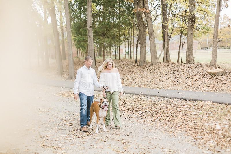 Autumn engagement photos with a dog, ©Casey Hendrickson Photography