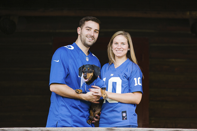 couple and dog wearing Eli Manning jerseys ©Jamie Bodo Photography