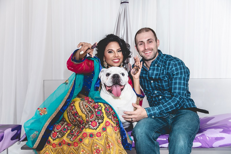 woman after Henna application, English Bulldog and man, DC wedding and engagement photography | Mo Kazi Photography