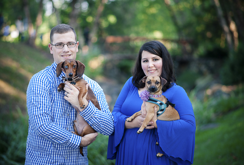 couple holding their small dogs, dog-friendly family portraits | Maryland lifestyle dog photographer ©Nina K Photography