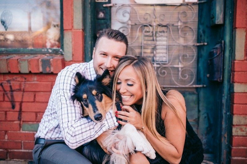 couple hugging their dog, ©Steven Dray Images | Pittsburgh engagement photography