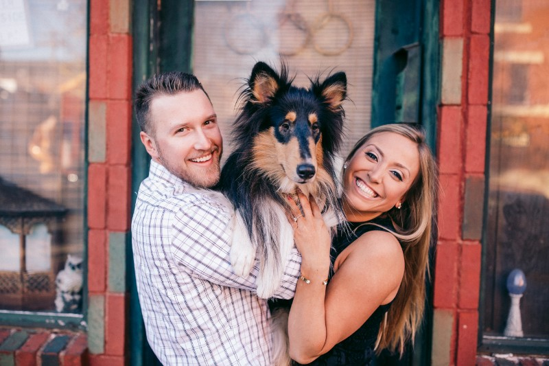 couple holding their Rough Collie | ©Steven Dray Images | Pittsburgh dog friendly engagement photos