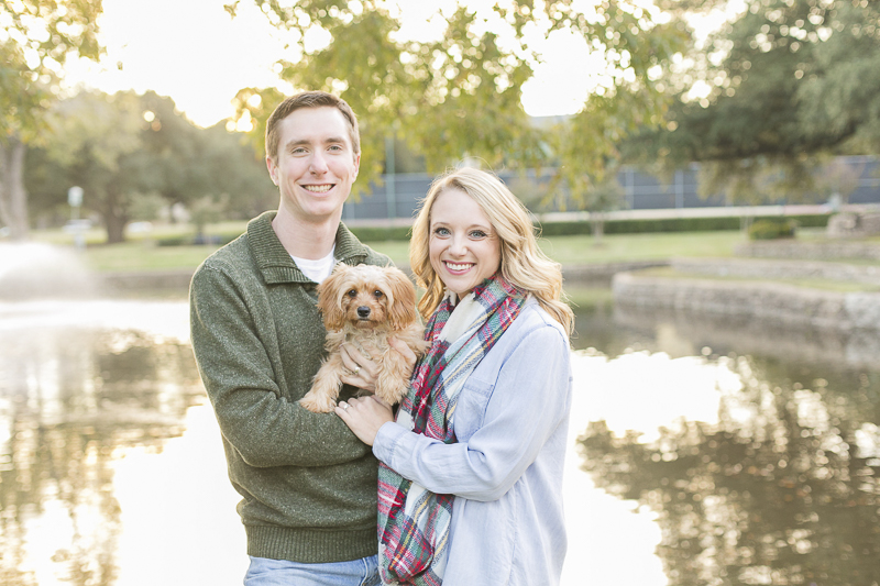 Cavalier Spaniel-poodle mix and family in front of pond, ©Abbie Mae Photography Dallas lifestyle family and dog photography