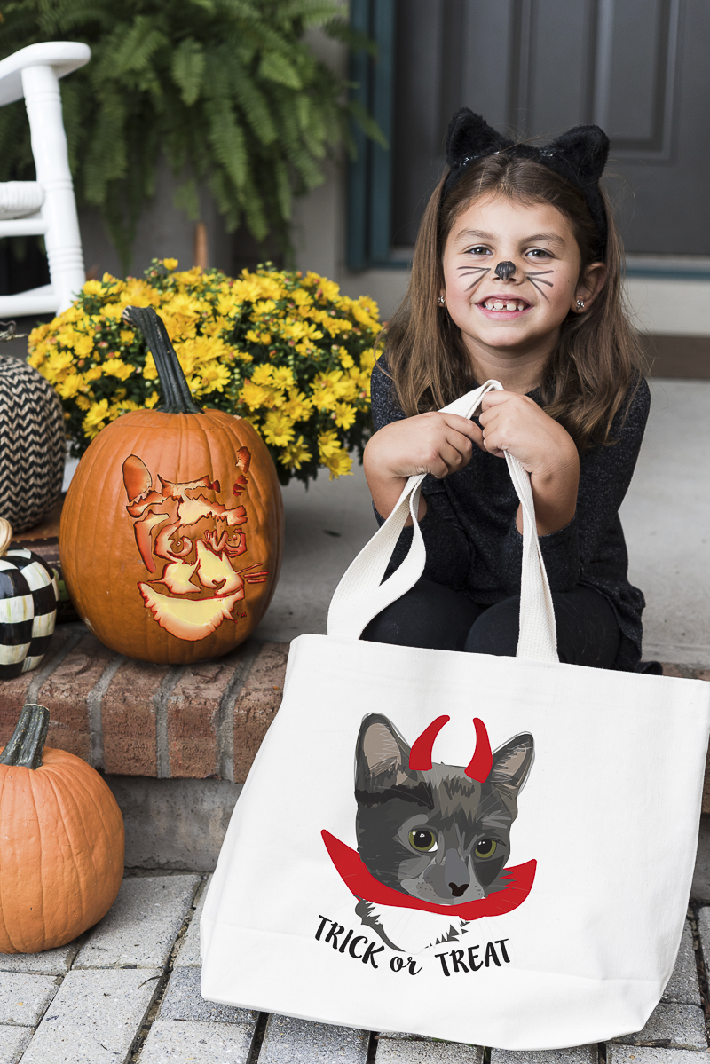 adorable little girl with cat ears and whiskers holding custom treat bag from Noble Friends