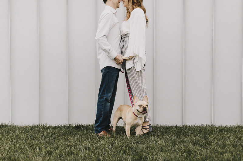 creative engagement photos with a dog, ©Alyssa Barletter Photography | engagement photos with a Frenchie