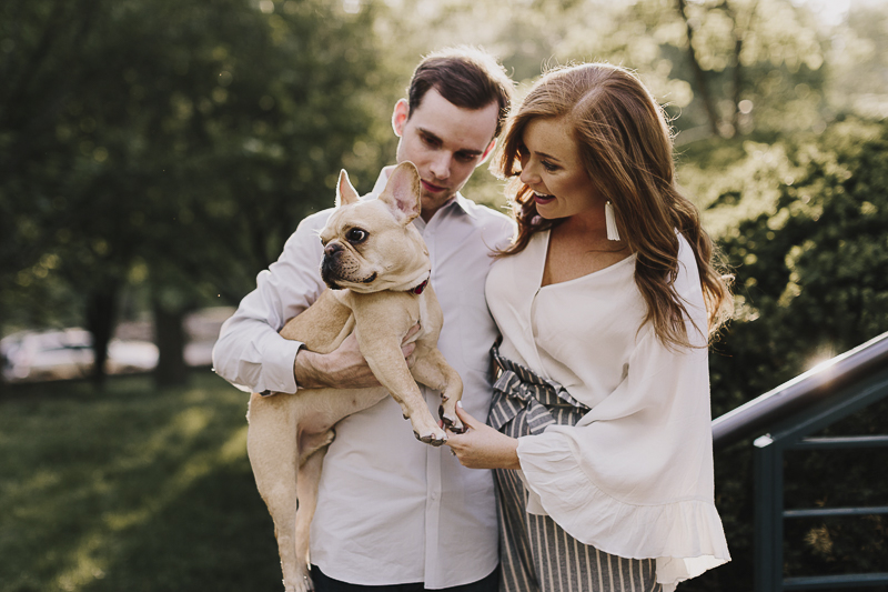 how to include dogs in engagement photos, creative dog photography, Frenchie, ©Alyssa Barletter Photography
