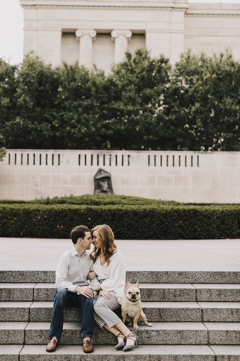 all you need is love and a dog, ©Alyssa Barletter Photography | engagement photos with a Frenchie