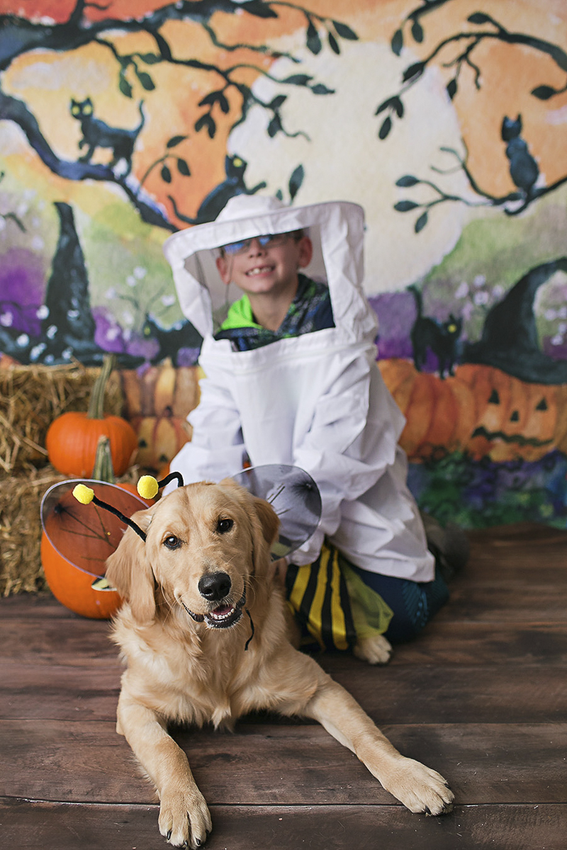 Halloween costume ideas for dog and child, bee and beekeeper costume, Philadelphia pet photographer, April Ziegler Photography
