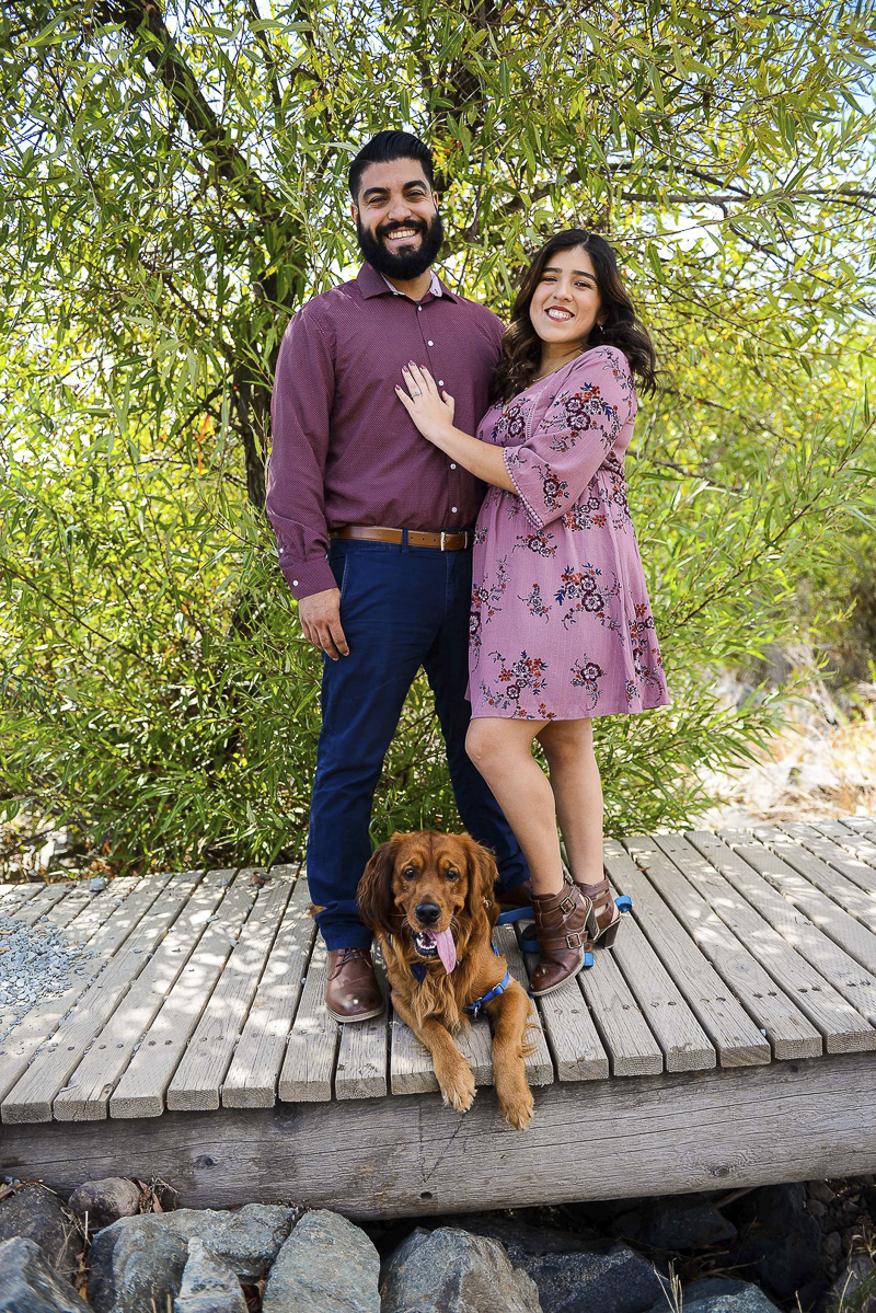 dog friendly engagement photos, couple and their Golden Retriever on Mission Trails, ©CR Photography