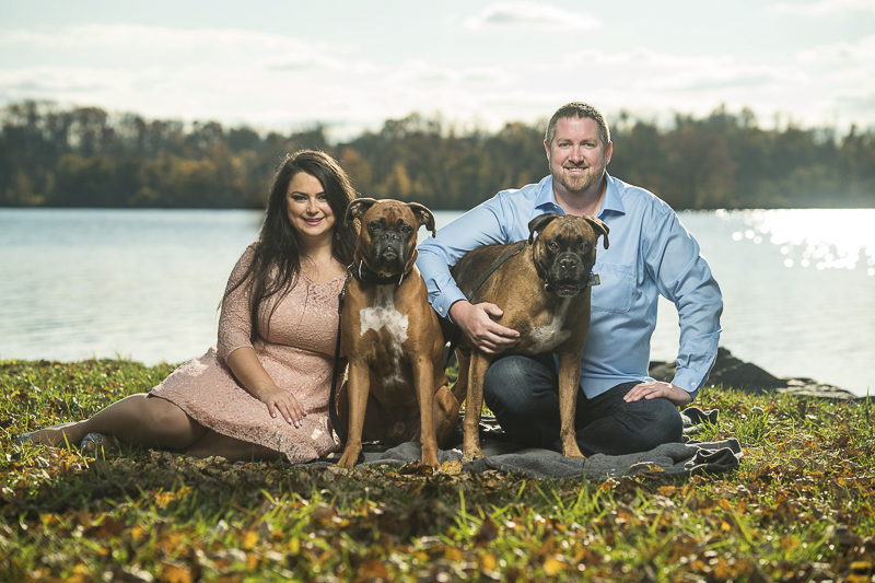 dog friendly engagement photos, Boxers and their people, fall engagement photos with dogs