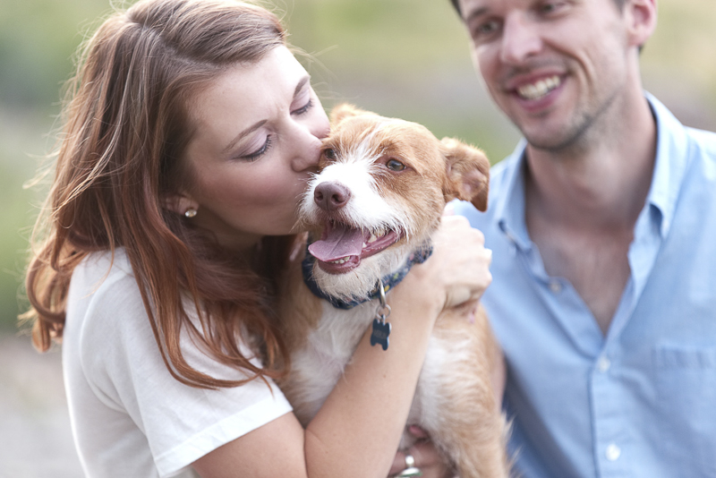 love between humans and dogs, Colorado dog-friendly engagement session, ©Good Morrow Photography
