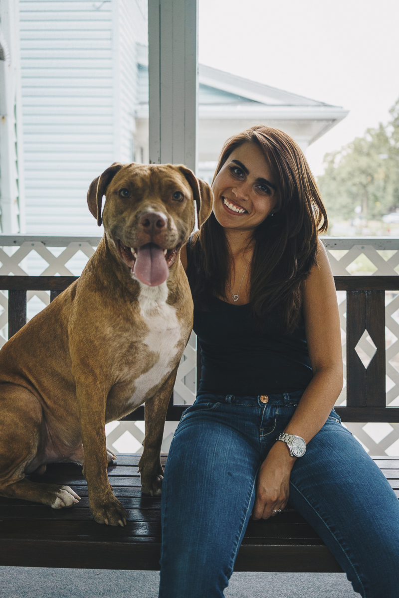 woman sitting on porch swing with her dog, girl's best friend | lifestyle dog photography, Pit bull advocacy | ©Heck Designs and Photography