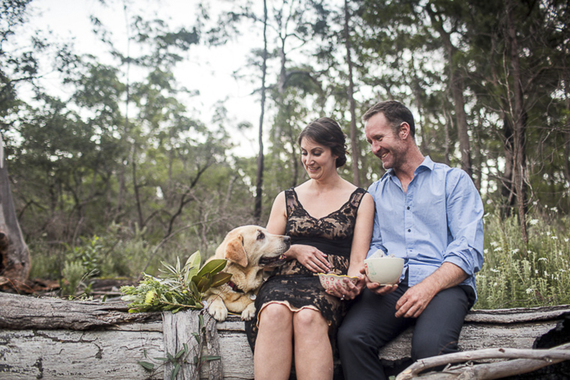 Lab photobombing engagement photos | ©Hilary Cam Photography Australia Bush Engagement Photography