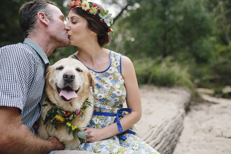 happy dog wearing floral collar, engagement photos with dogs