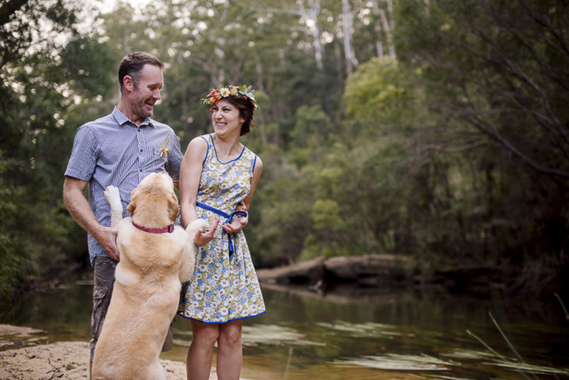 enthusiastic lab, funny engagement photos with dogs, ©Hilary Cam Photography, Australia Bush Engagement and Dog Photography