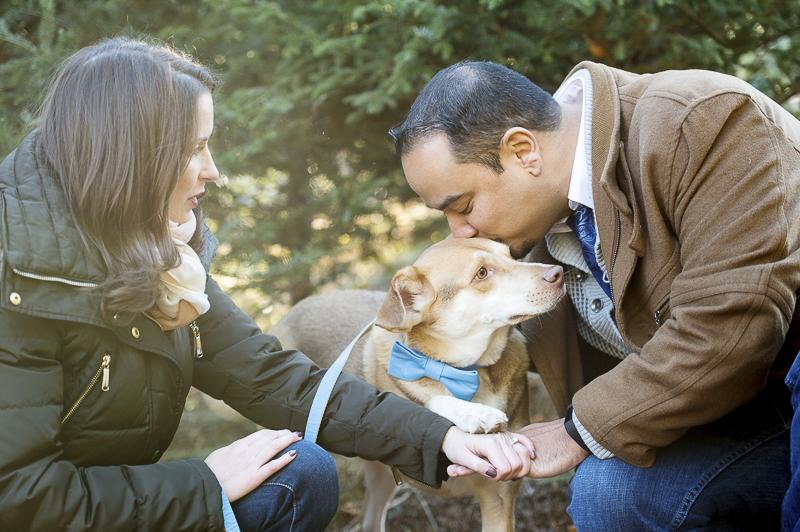 ©Julia Jane Studios, CT dog friendly winter engagement photos