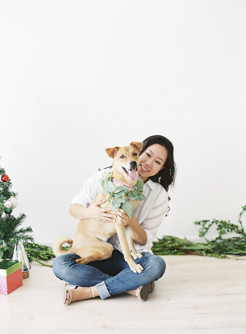 girl and her dog, wedding planner and Formosan Mountain dog mix, studio dog photography, ©Stephanie Gan Photography