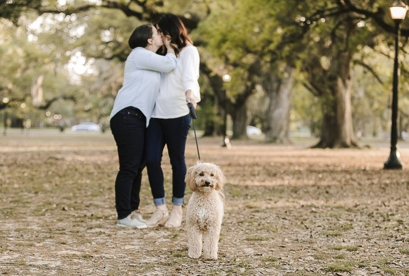 dog friendly engagement photos, two women and their dog in the park ©Theresa Elizabeth Photography | dog-friendly engagement session, New Orleans,