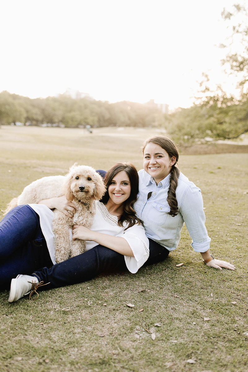 cute family photo at the park, engagement pictures with dogs, ©Theresa Elizabeth Photography | dog-friendly engagement session, New Orleans,