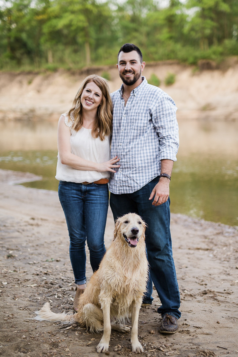 couple and wet dog, including pets in engagement pictures, ©Zoe Life Photography