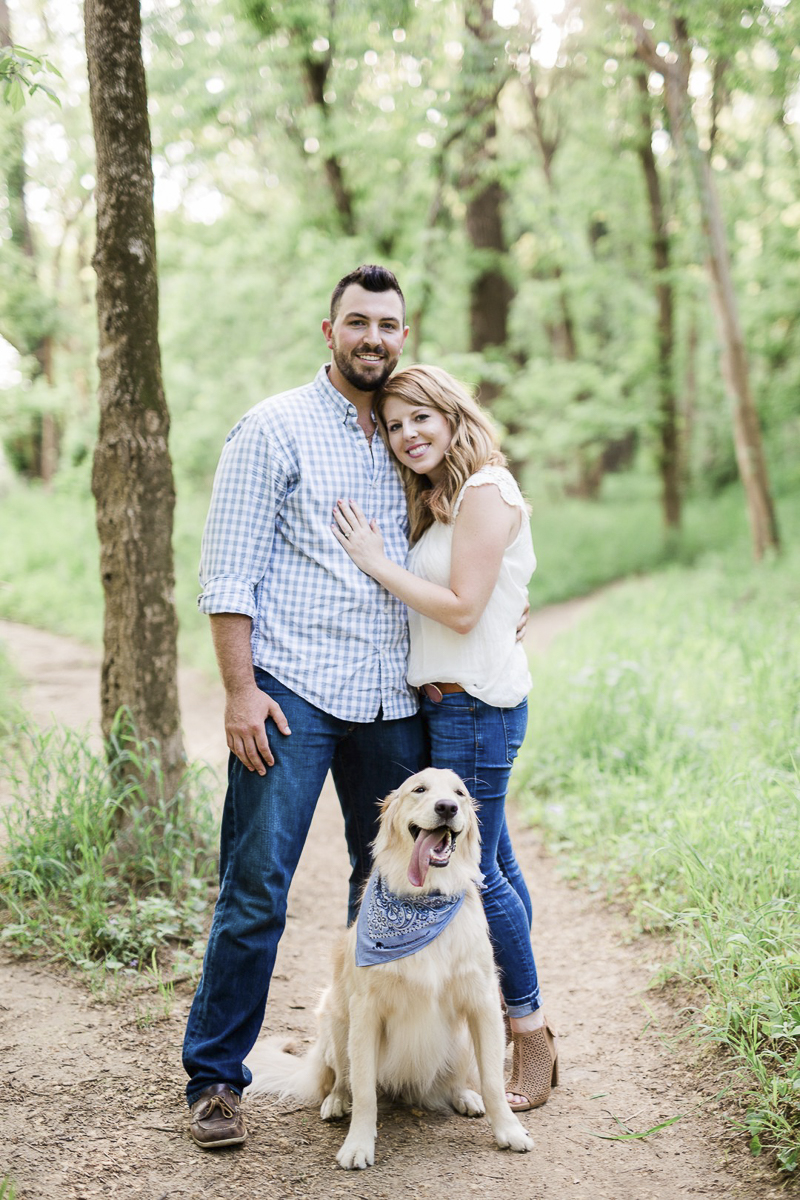 Castlewood State Park engagement photos with a dog, Golden Retriever, ©Zoe Life Photography