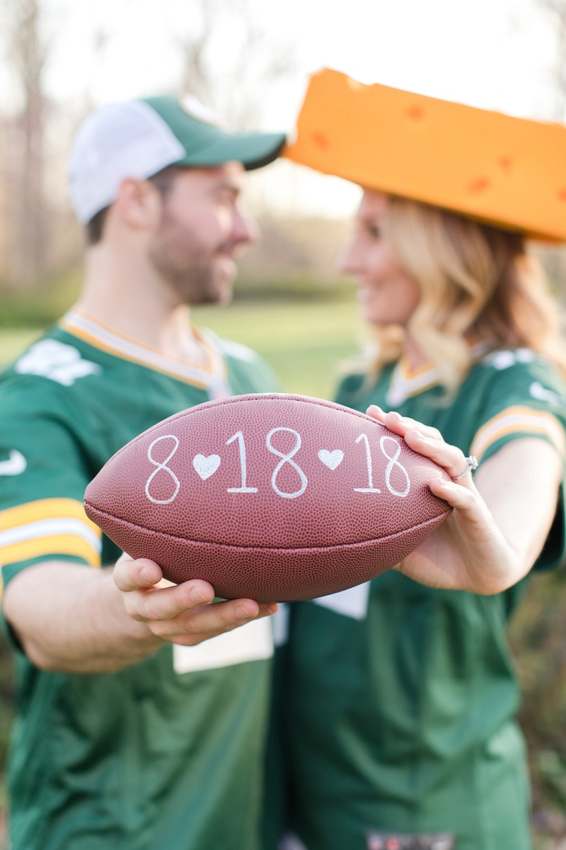 ©Jaye Kogut Photography Packers Fans engagement session, Save the Date football