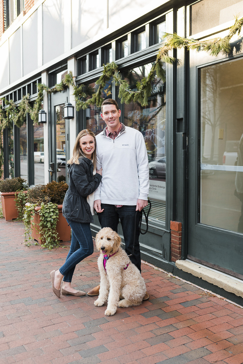 couple and their dog, red brick sidewalk, ©Ashton Kelly Photography