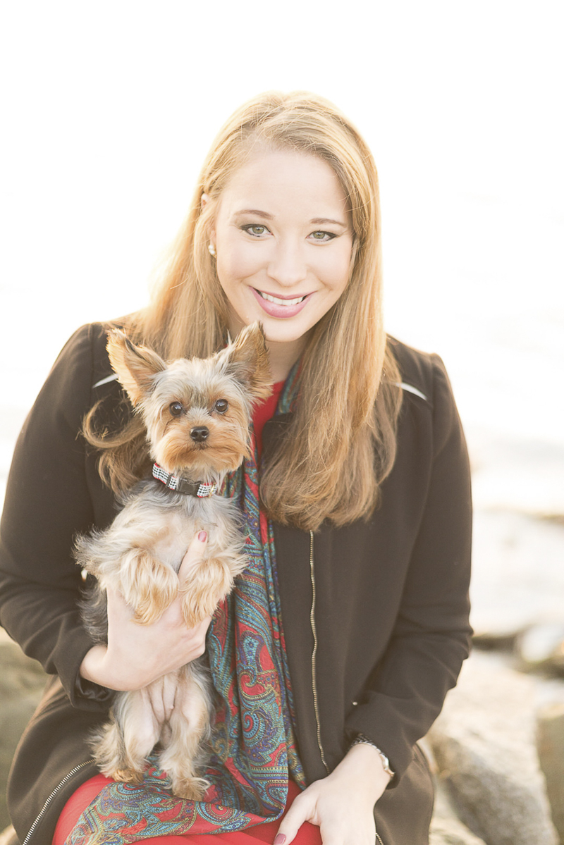 woman holding Yorkie, ©Imagery by Erin | Holiday photos with a Yorkshire Terrier