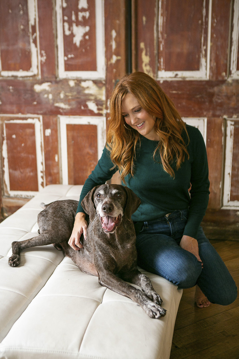 photo shoot of woman and her dog, senior dog photography
