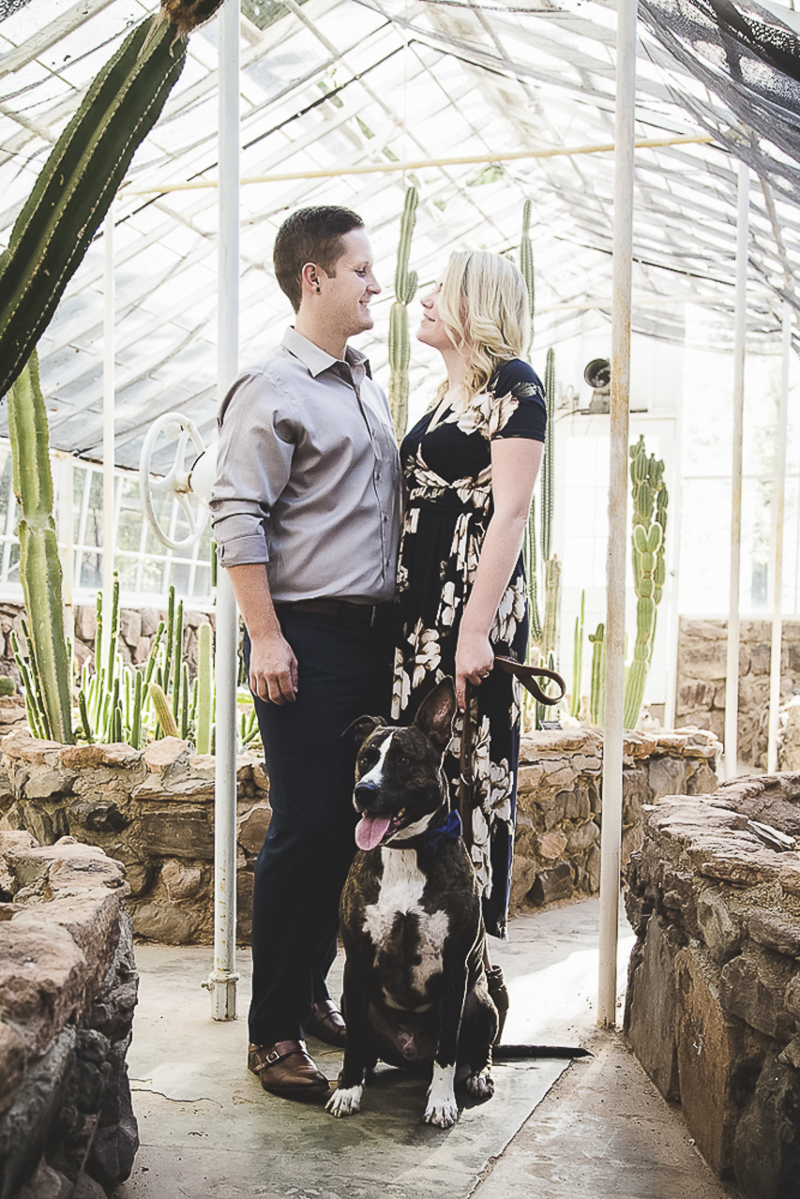 dog friendly engagement shoot, greenhouse engagement session with a dog Poppyseed Photography