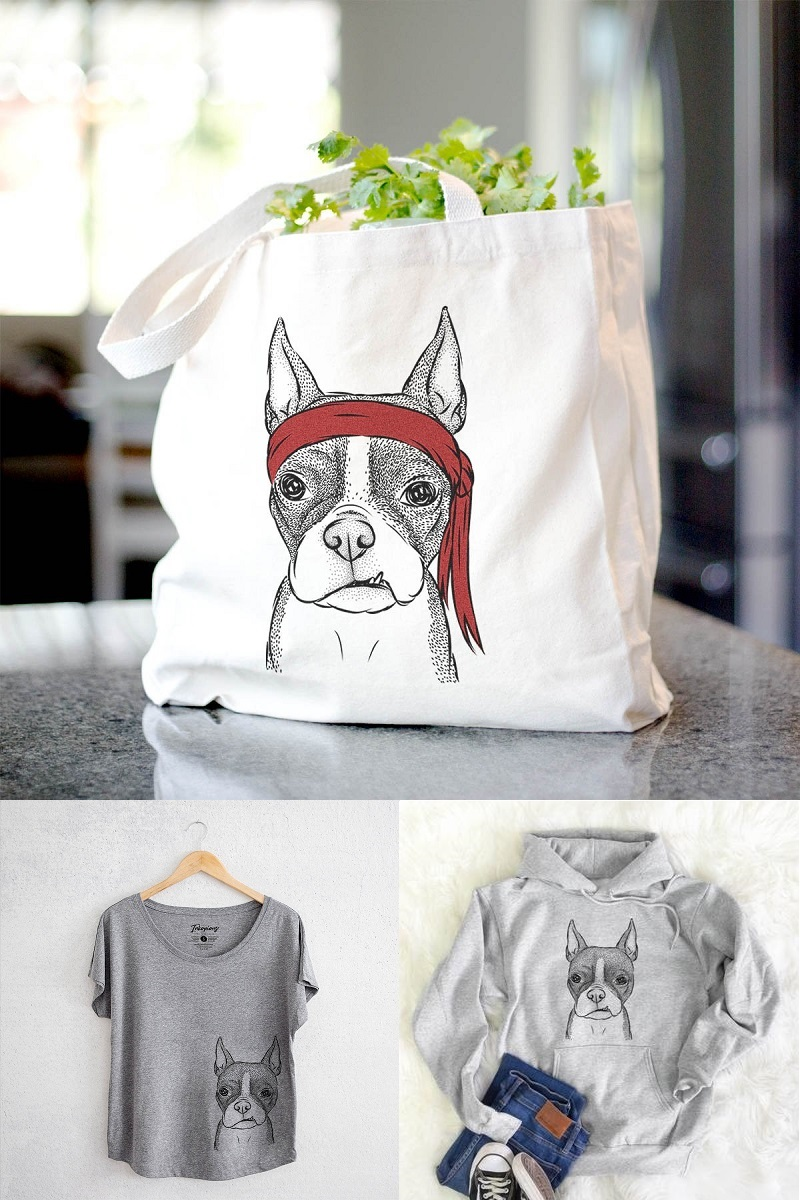 dog lover gift ideas, Bean the Boston Terrier from Inkopious