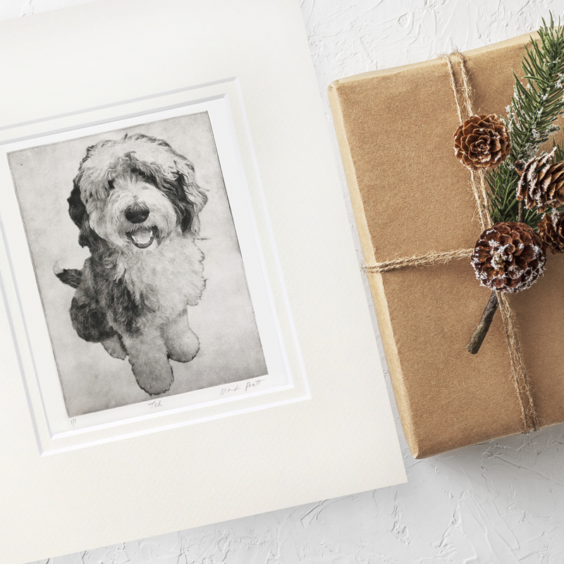 Fine Art Etching, ideas for dog lover gifts