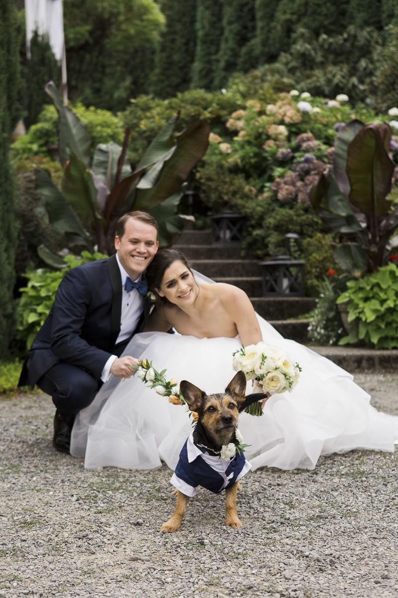 bride, groom and their dog, wedding photos with dogs, ©Stephanie Cristalli Photography