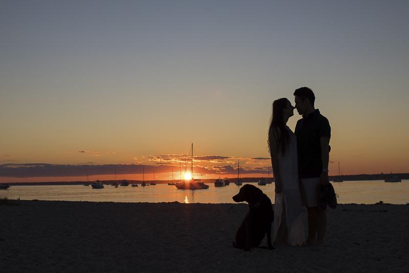 sunset engagement photos with a dog, Trish Kemp Photography-Beach engagement photos with a Lab