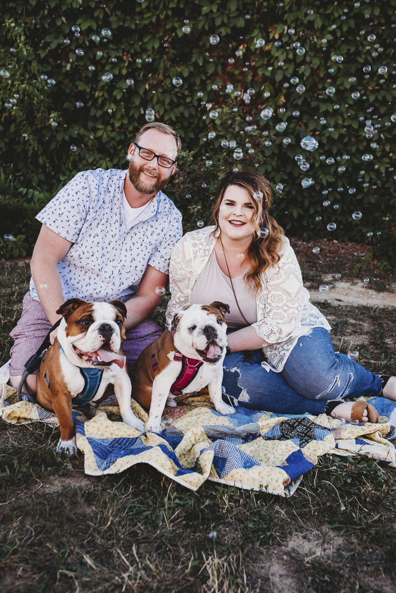 ©Irish Eyes Photography | lifestyle dog portraits, couple and their dogs on blanket, bubble machine