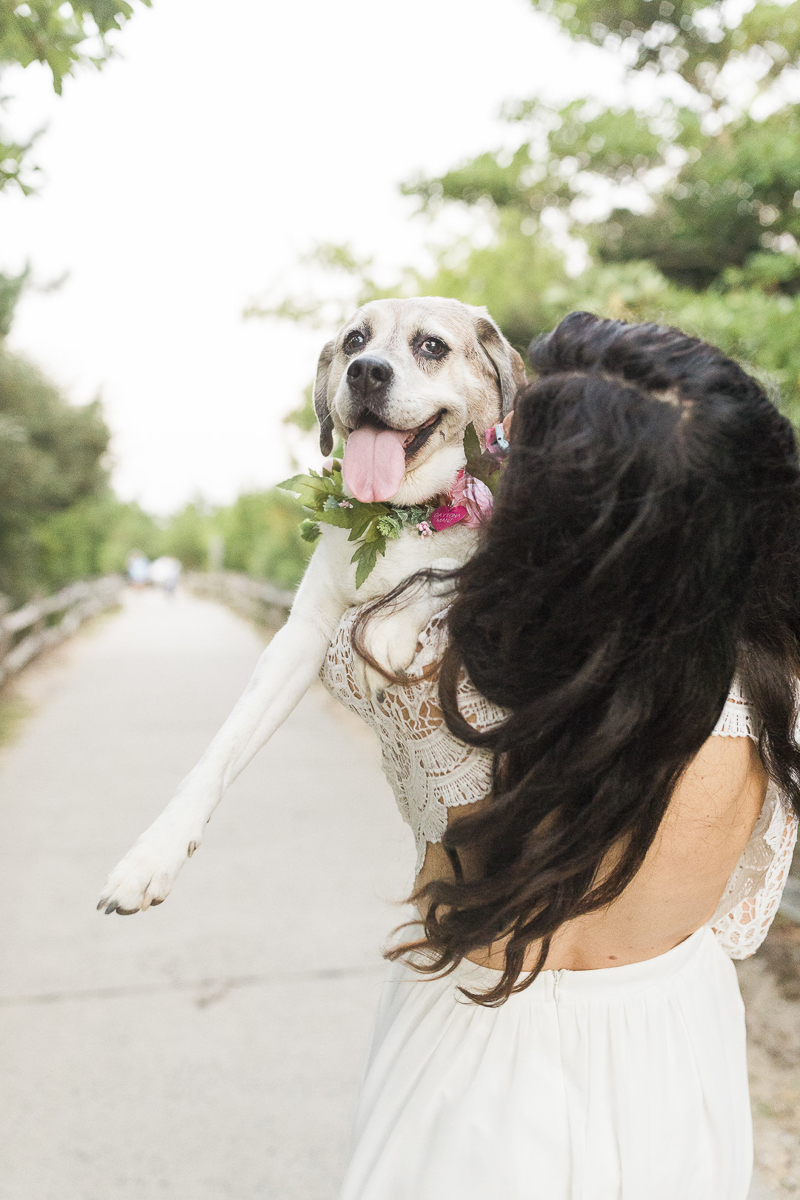 woman wearing white dress holding up dog in collar made of flowers | ©Kelly Sea Images | NJ lifestyle dog and portrait photography