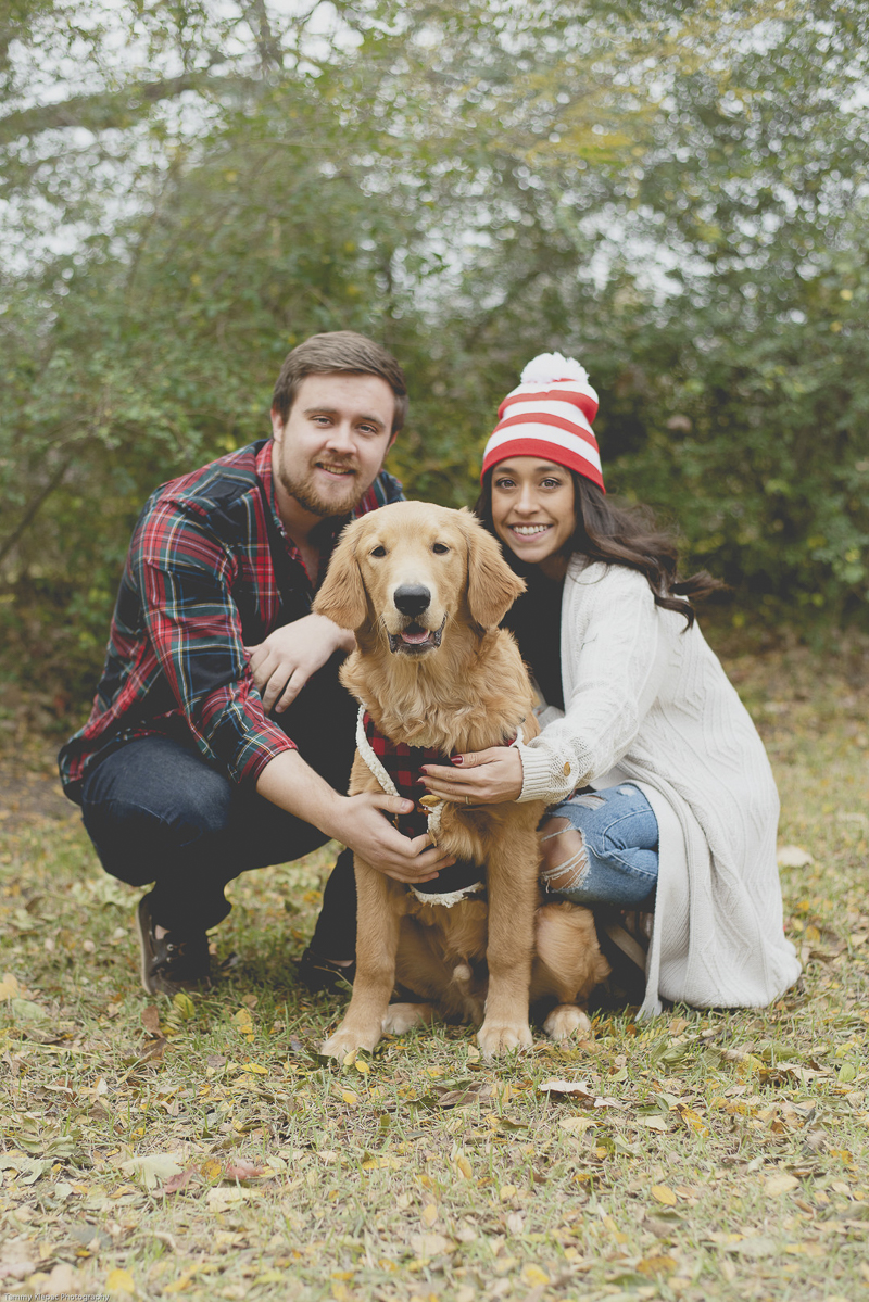 couple crouching down next to their dog for family portrait, Grapevine Texas, ©Tammy Klepac Photography