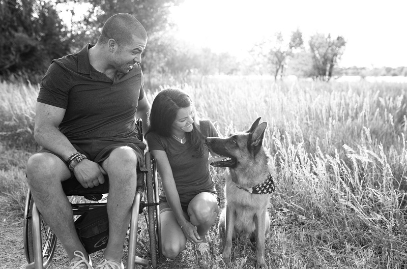 German Shepherd looking up at man in wheelchair, family photos with a dog, ©Good Morrow Photography