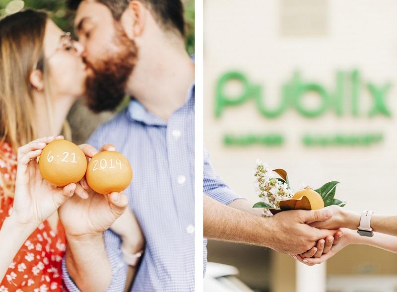 ©Kenzie Rae Photography | Save the Date oranges, Florida engagement photography, Publix