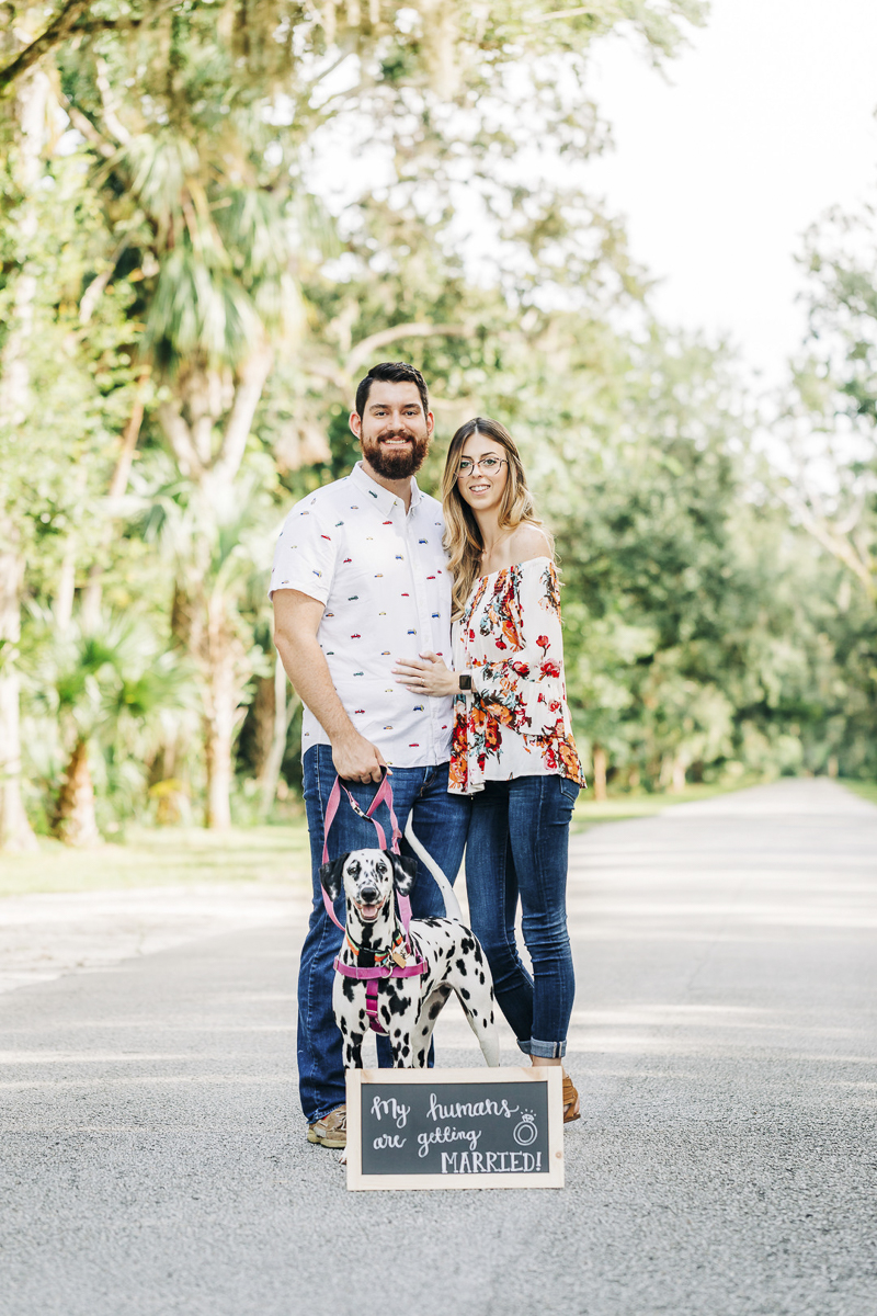 Dalmatian and her humans, dog friendly engagement photo shoot, ©Kenzie Rae Photography Washington Oaks State Park, Florida
