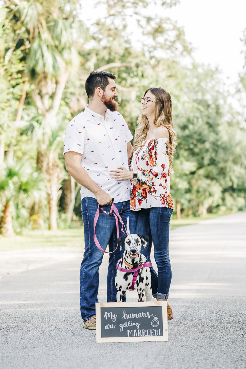 ©Kenzie Rae Photography | engagement photos with a Dalmatian, Washington Oaks State Park, Florida