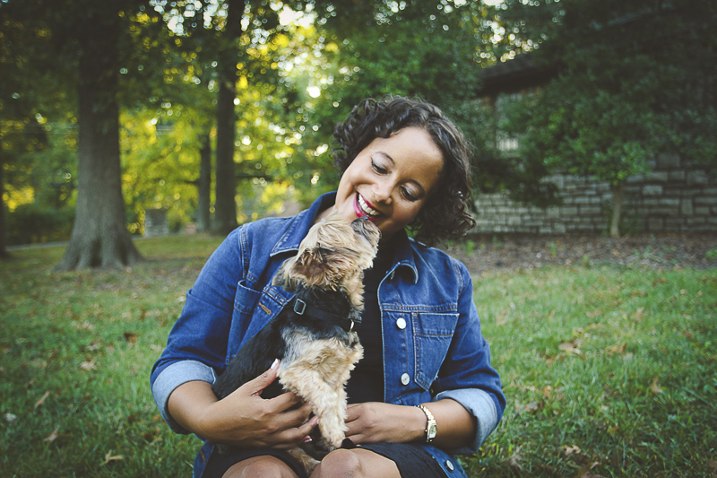Yorkie sitting on woman's lap, outdoor dog photo shoot ©Aim With Mia Photography, St Louis, MO, lifestyle family photography