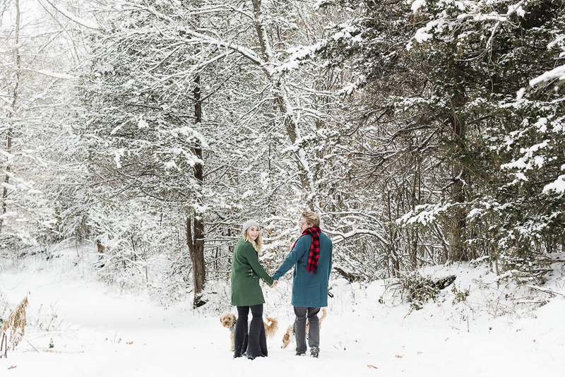couple walking their dogs in the snowy woods, Lauren Engfer Photography, winter family portraits