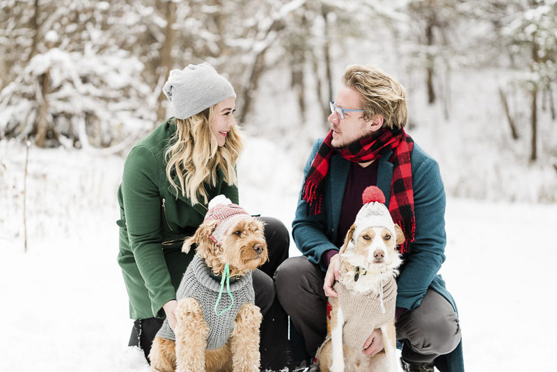 dog-friendly winter family portrait session, dogs wearing hats and sweaters and their humans | ©Lauren Engfer Photography