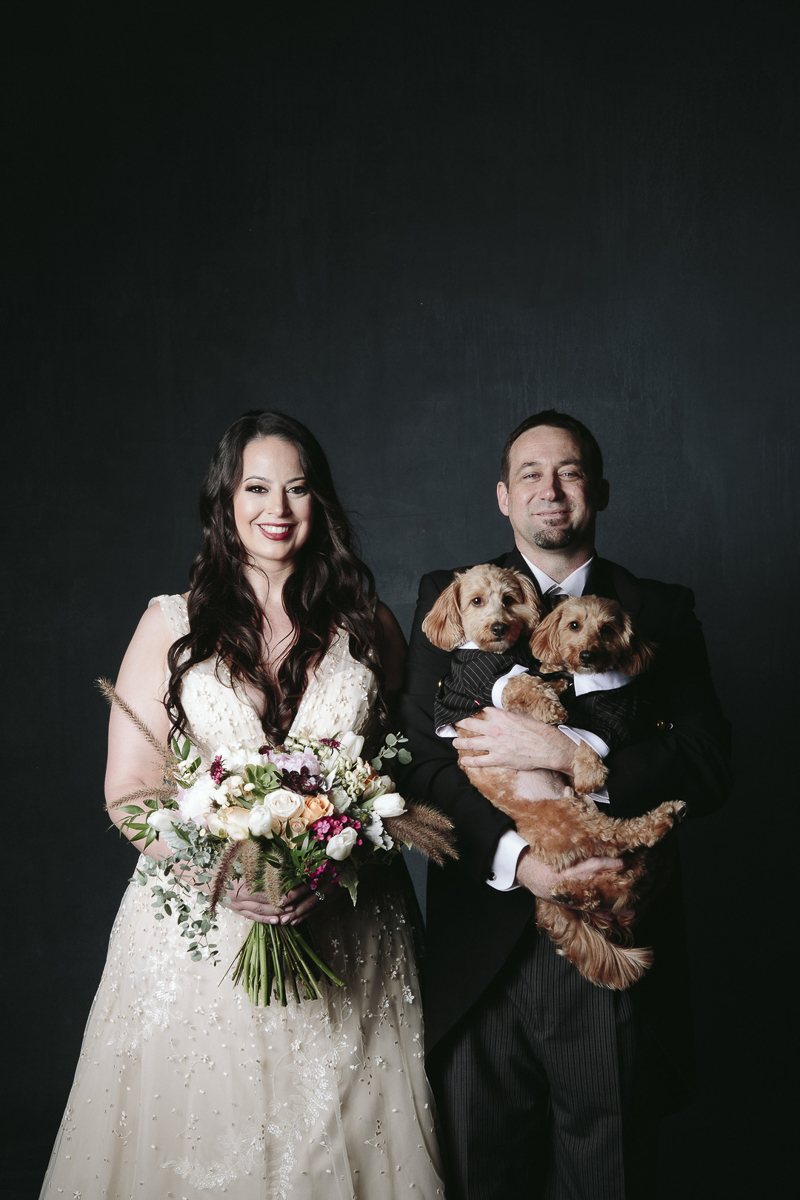 formal Studio Engagement Session With Dogs, bridal wear, dogs in tuxes, ©Nicole Caldwell Photography