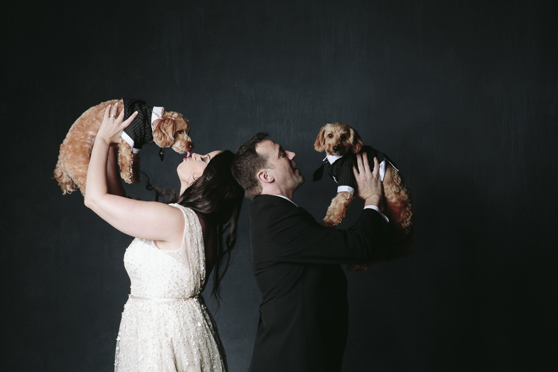 dogs and their humans, studio pet photography, couple in wedding clothes holding dogs in tuxes, ©Nicole Caldwell Photography