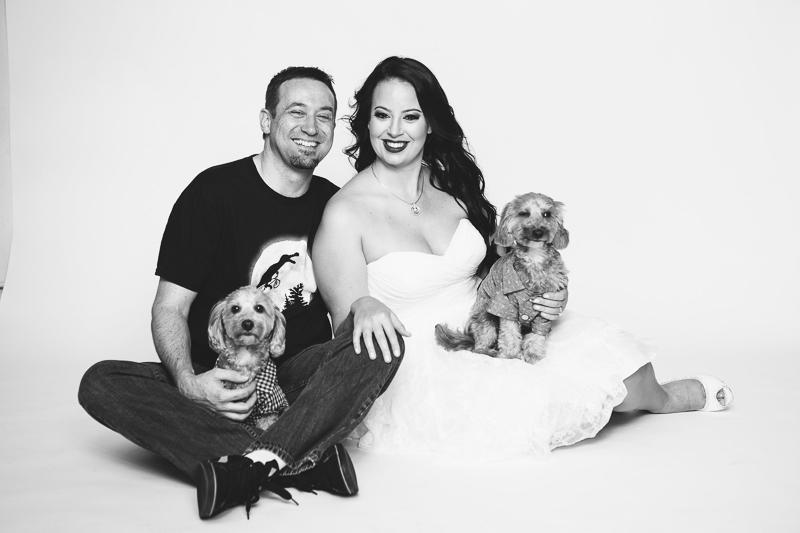 ©Nicole Caldwell Photography | dog-friendly studio engagement photos, poodle mixes